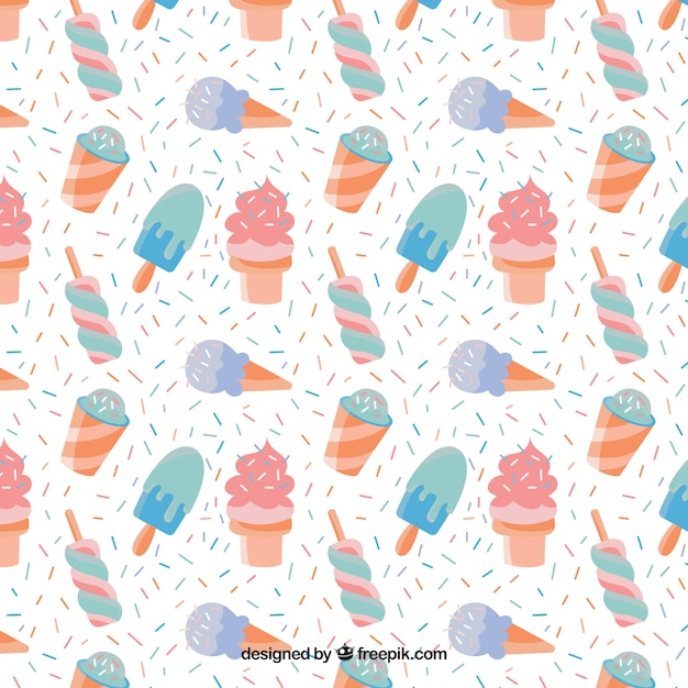 Pattern Cute Colorful Ice Cream Textiles Stock Vector: Icecream Background Vectors, Photos And PSD Files