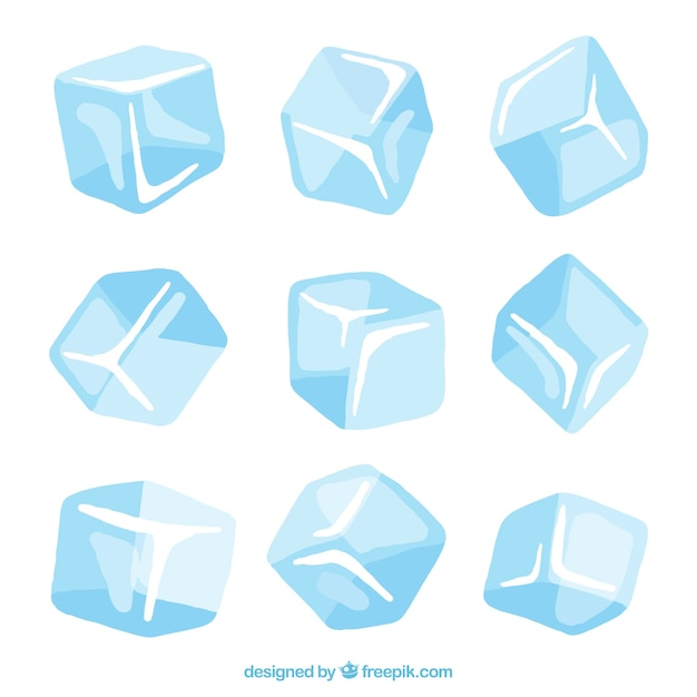 Hand drawn ice cube collection Free Vector