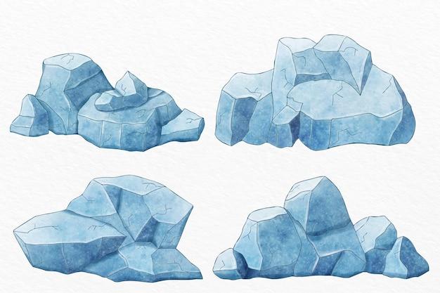 Collezione iceberg disegnata a mano Vettore gratuito