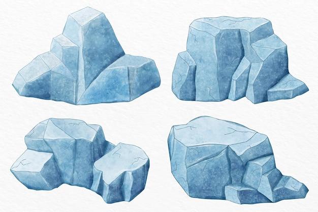 Insieme dell'iceberg disegnato a mano Vettore gratuito