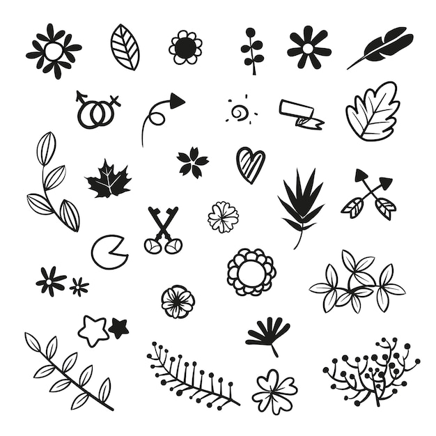 hand drawn icons collection vector