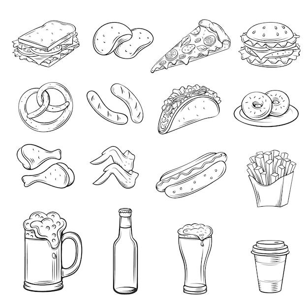 Нарисованные от руки иконки для street cafe Premium векторы