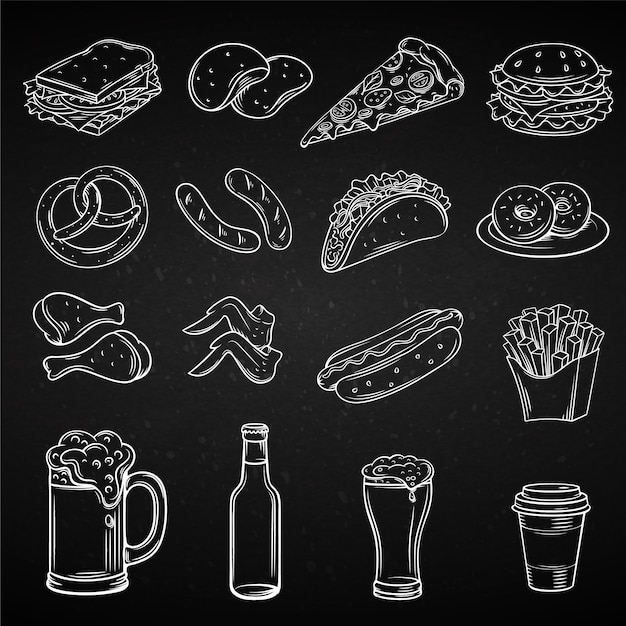Hand drawn icons for street cafe Premium Vector