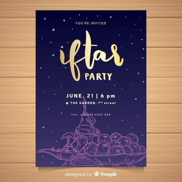 Hand drawn iftar invitation template Free Vector