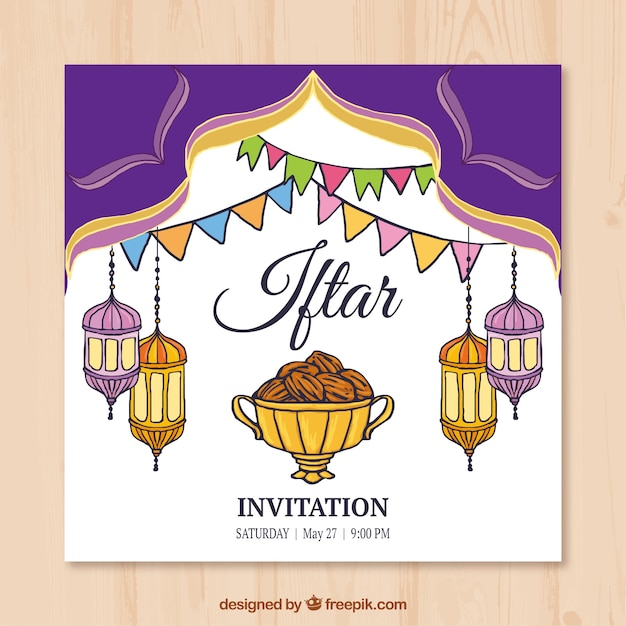 Iftar vectors photos and psd files free download hand drawn iftar invitation with lanterns stopboris Images