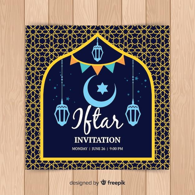 Hand drawn iftar invitation Free Vector