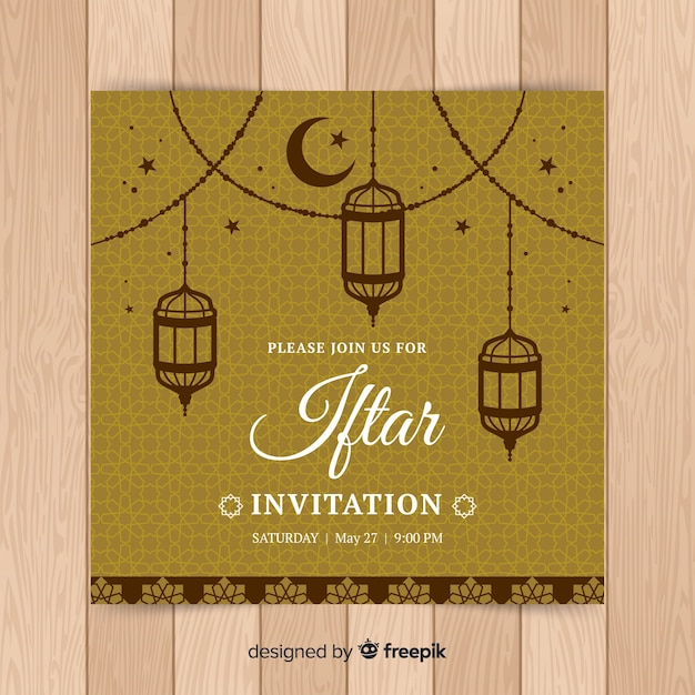 Hand drawn iftar invitation Free Vector