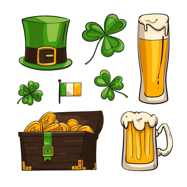 Hand drawn illustrated st. patrick's day elements Free Vector