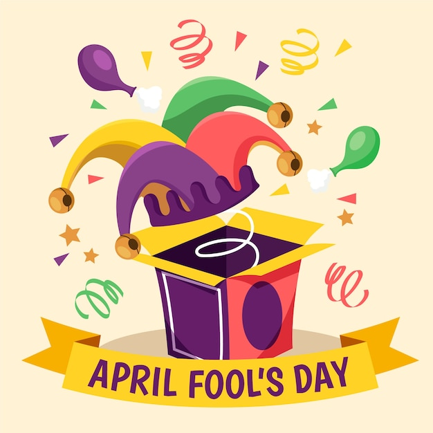 Hand drawn illustration for april fool's day with funny hat Free Vector