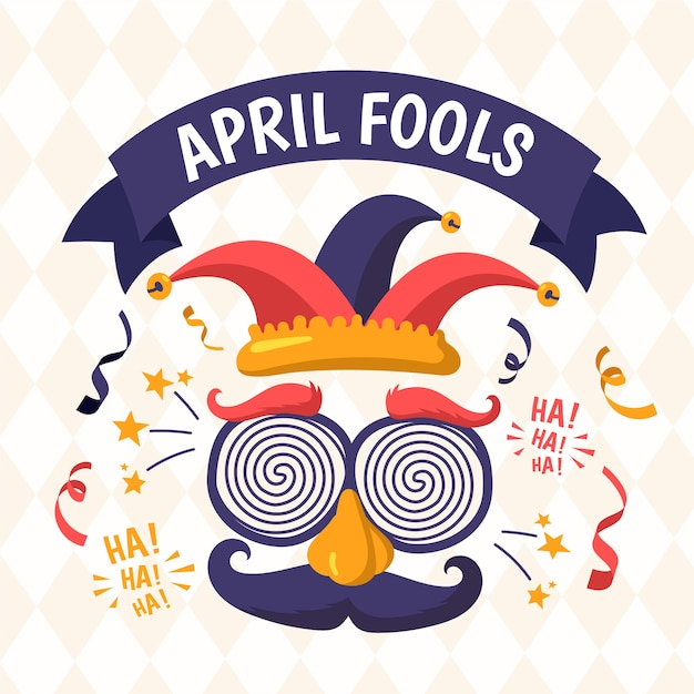 Hand drawn illustration for april fool's day with funny mask Free Vector
