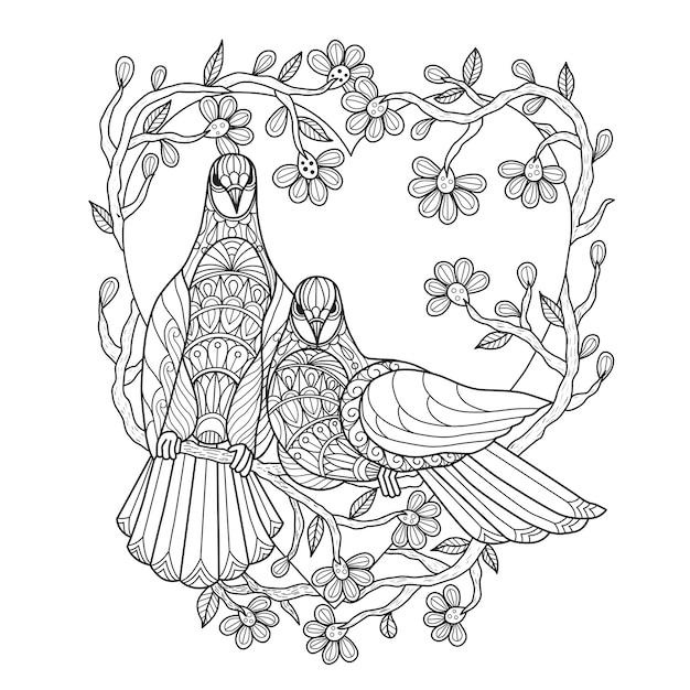 Hand drawn illustration of bird lovers. Premium Vector