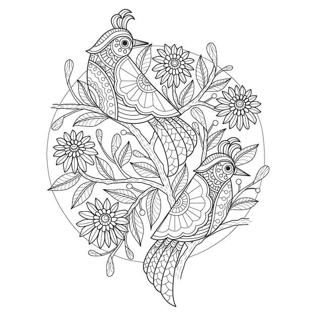 Hand drawn illustration of birds in zentangle style Premium Vector