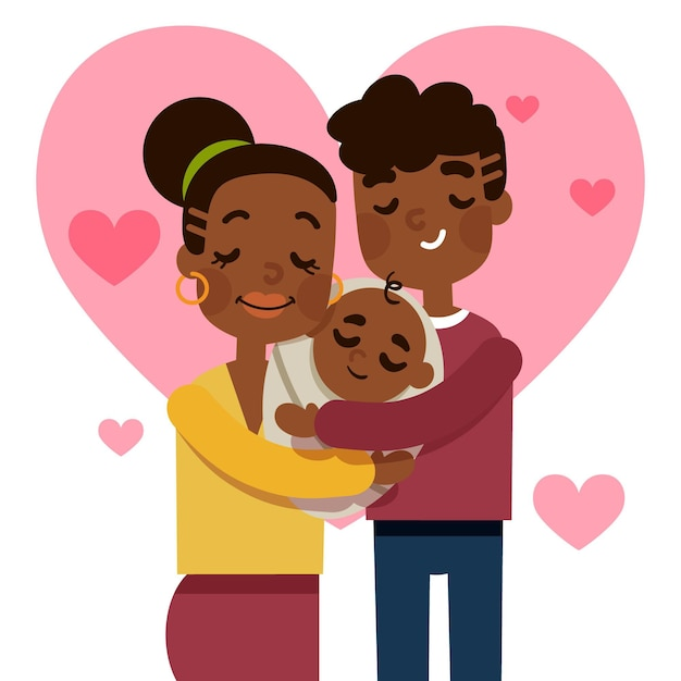 Illustrazione disegnata a mano famiglia nera con un bambino Vettore gratuito