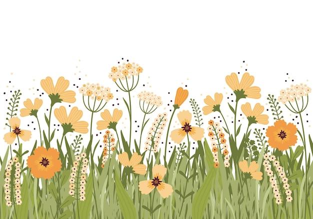 夏の牧草地に咲く手描きイラスト。白い背景に花のバナー。畑にはたくさんの黄色い花、つぼみ、葉、茎があります。さまざまな野草。スカンジナビアスタイル Premiumベクター