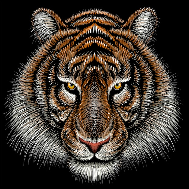 Hand drawn illustration in chalk style of tiger Premium Vector