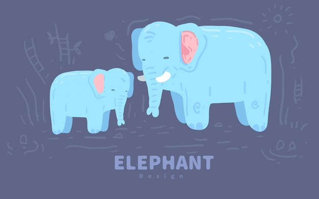 Hand drawn illustration of a cute  elephant . elephant illustration Premium Vector