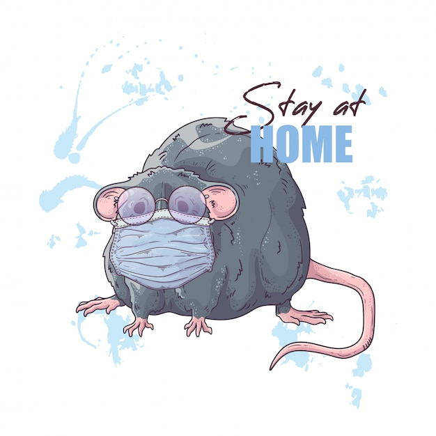 Hand drawn illustration of the cute rat in a medical mask Premium Vector