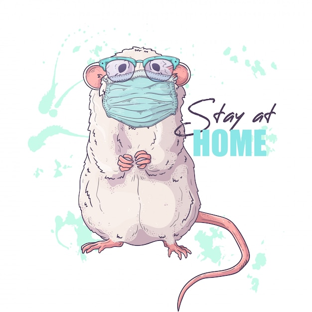 Hand drawn illustration of the cute rat in a medical mask . Premium Vector