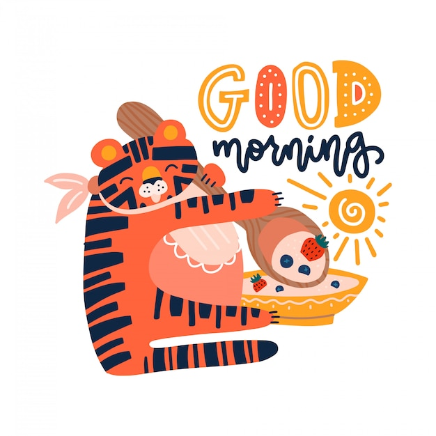 Hand drawn illustration of a cute tiger eating cereal, with lettering quote good morning. isolated objects on white background. Premium Vector