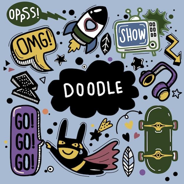 Hand drawn illustration of doodle set ,line tools drawing,flat design Premium Vector