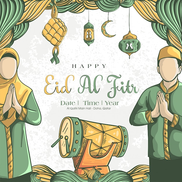 Hand drawn illustration of eid al fitr greeting card concept Free Vector