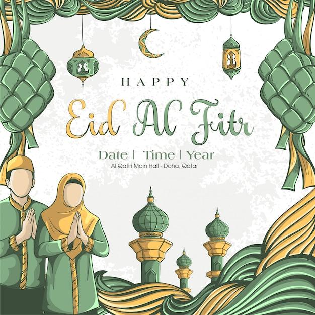 Hand drawn illustration of eid al fitr greeting card concept Free Vector