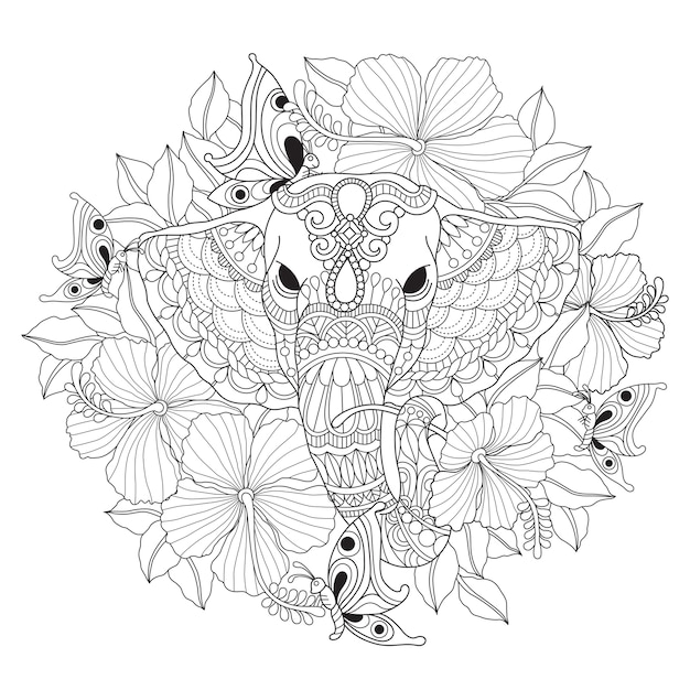 Hand drawn illustration of elephant and flower Premium Vector