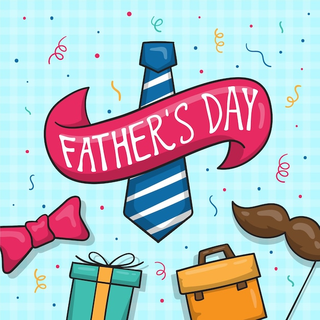 Hand drawn illustration for father's day event Free Vector