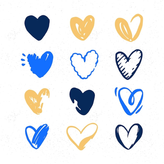 Hand drawn illustration heart collection Free Vector