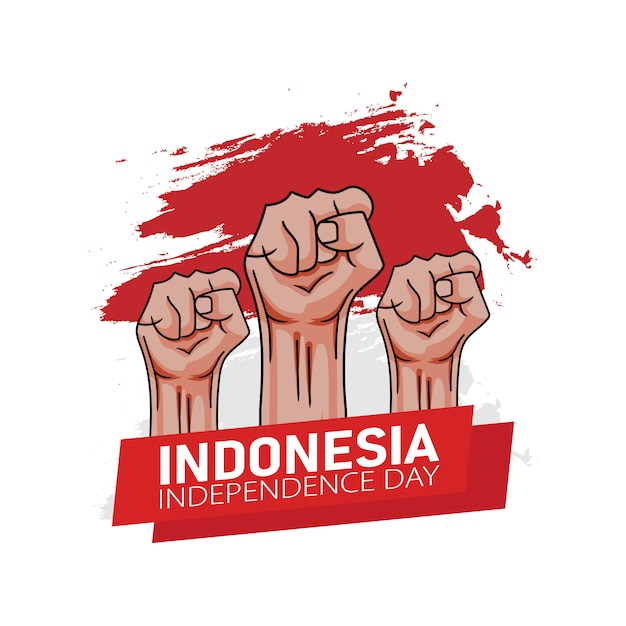 Hand drawn illustration of indonesia independence day greeting card concept. Premium Vector