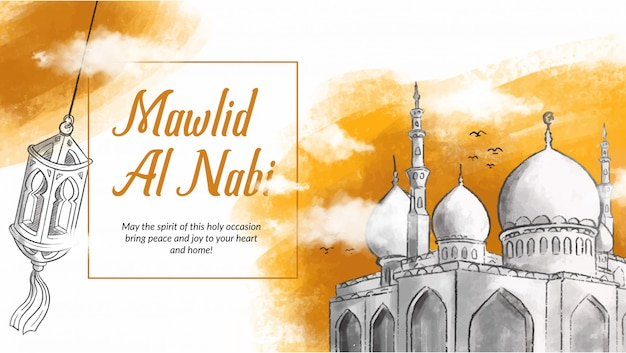 Hand drawn illustration of mawlid al nabi celebration. Premium Vector