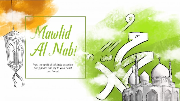 Hand drawn illustration of mawlid al nabi celebration. Premium Vector