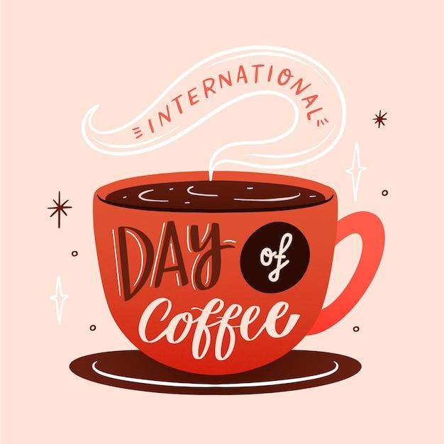 コーヒーの日のイベントの手描きイラスト 無料ベクター