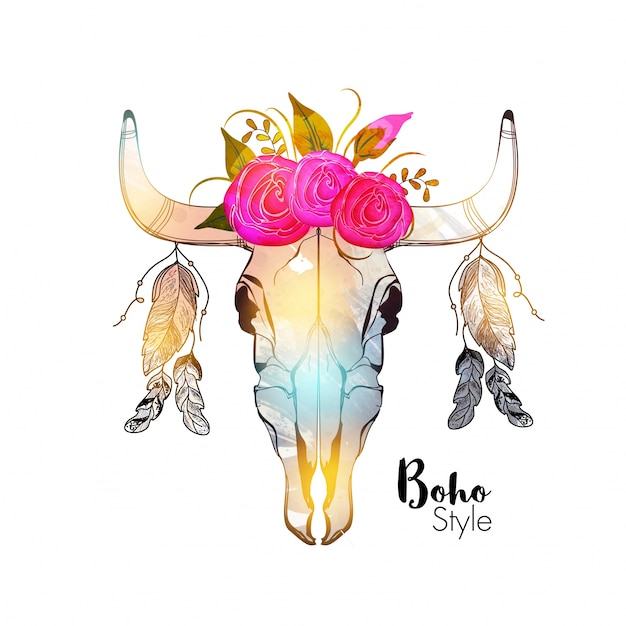 Hand drawn illustration of colorful bull\'s head\ with beautiful flowers and ethnic feathers.