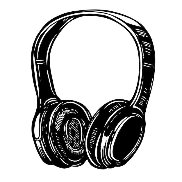흰색 바탕에 헤드폰의 손으로 그린 그림입니다. 로고, 라벨, 엠블럼, 사인, 포스터, 티셔츠 요소. 영상 프리미엄 벡터