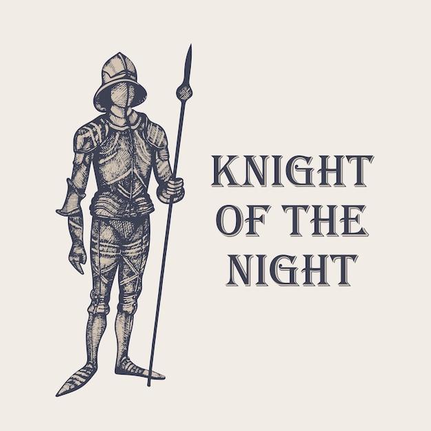 彫刻スタイルの騎士の手描きイラスト Premiumベクター