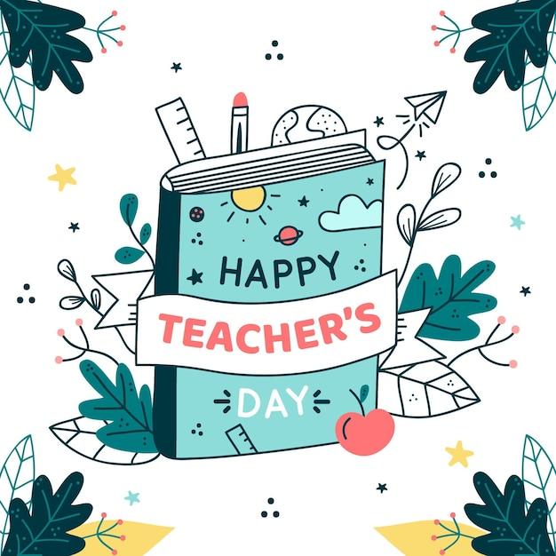 Нарисованная рукой иллюстрация дня учителя Бесплатные векторы