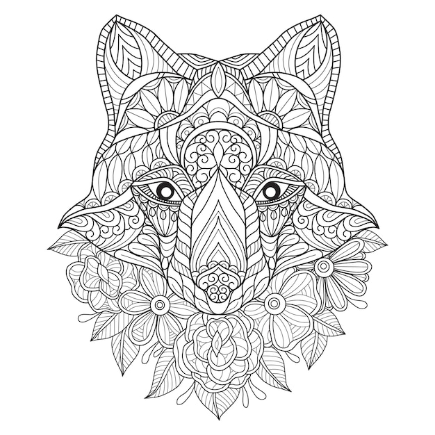 Hand Drawn Illustration Of Wolf And Flower Premium Vector