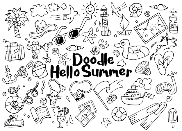 Hand drawn illustration set of summer doodles elements. Premium Vector