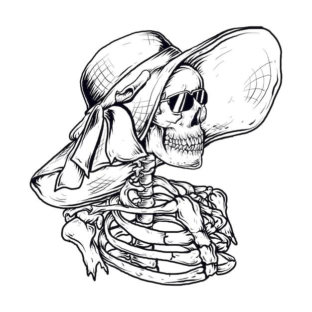 ビーチ帽子とサングラスと手描きイラストスケルトン女性 Premiumベクター