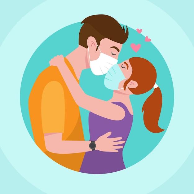 Covidマスクでキスするカップルと手描きイラスト 無料ベクター