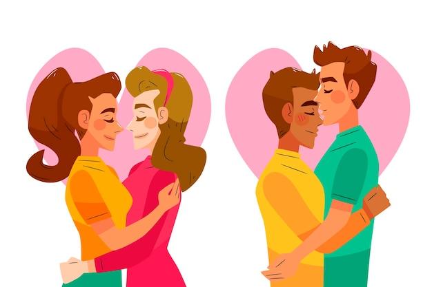 カップルのキスと手描きイラスト 無料ベクター