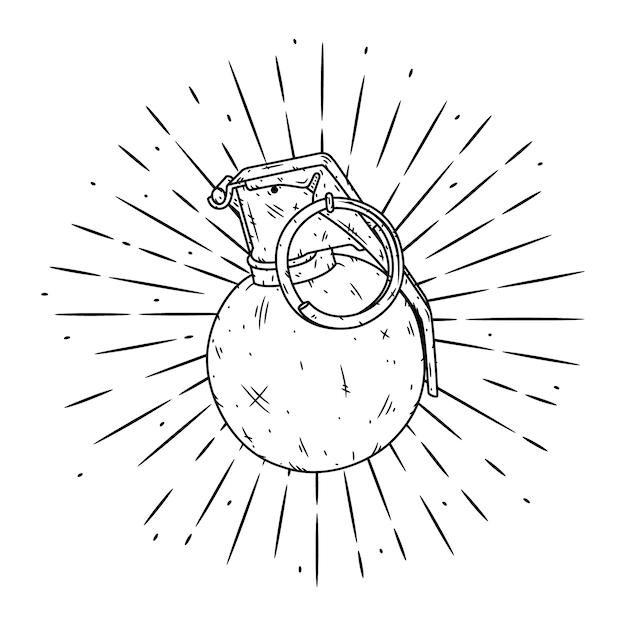 手g弾で描かれたイラストを手します。 Premiumベクター