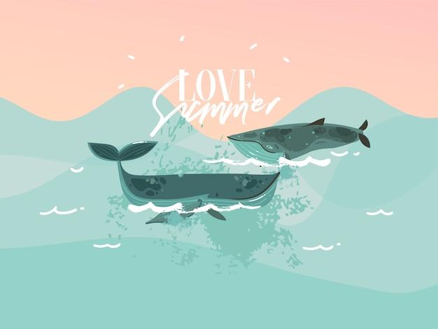 Вручите вычерченную иллюстрацию с счастливыми китами заплывания красоты и сценой океана захода солнца на голубой предпосылке цвета. Premium векторы