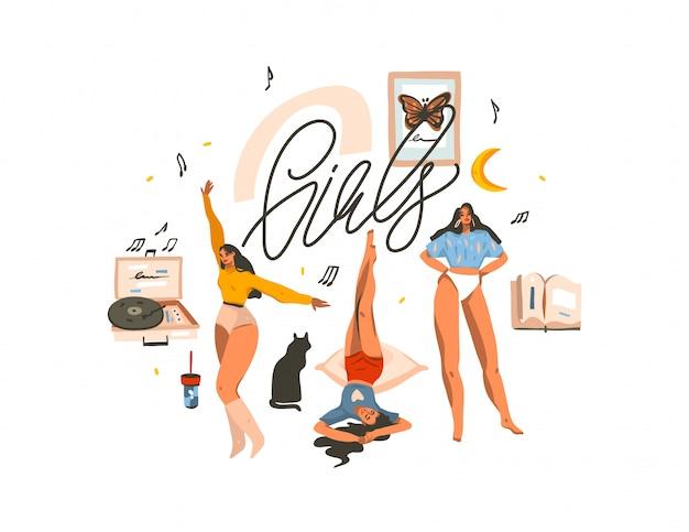Вручите сделанную иллюстрацию с молодыми счастливыми женщинами красоты, танцующими и весело проводящими время вместе группой друзей, и девушками рукописными буквами на белом фоне Premium векторы