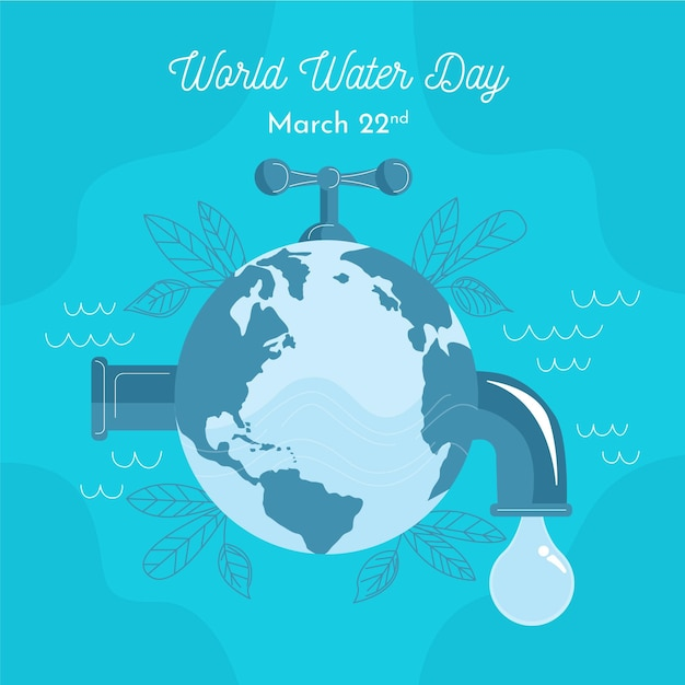 Hand drawn illustration world water day Free Vector