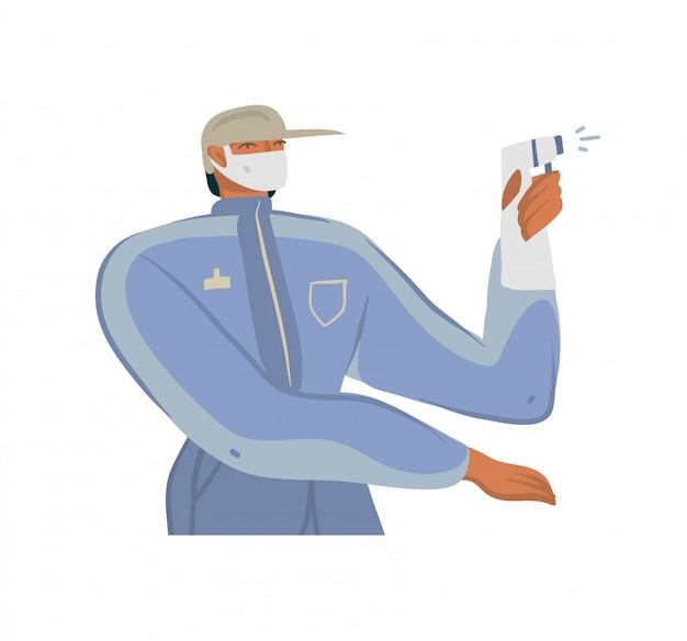 手描きイラスト、インターネット配信で働くエコパッケージを持つ男、白い背景で隔離の自転車に乗ってフェイスマスクでよく保護 Premiumベクター