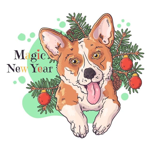 Рисованной иллюстрации. портрет милой собаки корги с елкой. Premium векторы