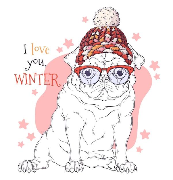 손으로 그린 그림. 크리스마스 액세서리에 귀여운 퍼그 강아지의 초상화입니다. 프리미엄 벡터