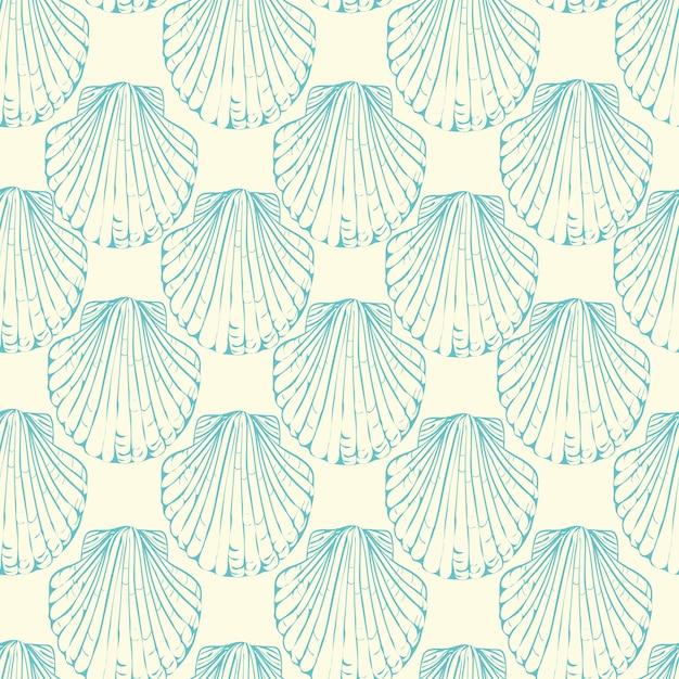 手描きイラスト-貝殻のシームレスなパターン。海洋の背景。 Premiumベクター